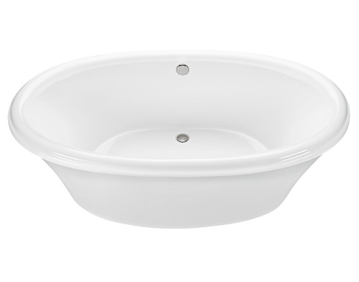 Oval Freestanding Bath With Rolled Rim, 2 Backrests, Center Drain