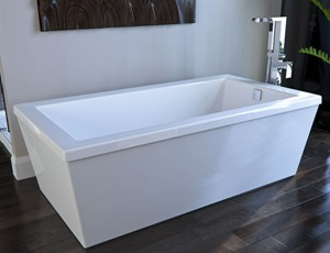 Modern Rectangle Freestanding Tub with Square Tub Filler