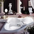 Corner Bath with Side-by-side Bathing, Elegant Raised Backs