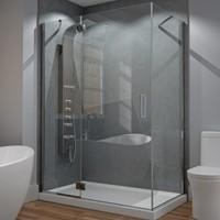 Rectangle Corner Shower, Hindge Door, Fixed Side Panel