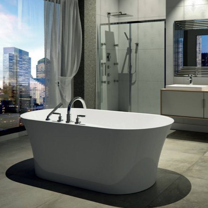 Oval Freestanding Bath with Curving Sides, Faucet Deck