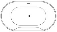 Oval, Center Drain Bathtub with Slotted Overflow