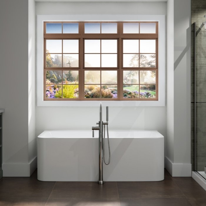 Rectangle Against the Wall Freestanding Bath with Straight Sides, Rounded Corners