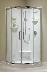 36 x 36 Neo Round Corner Shower with Footrest