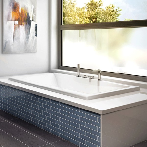 Modern Rectangle Bath, Center Drain, Flat Rim