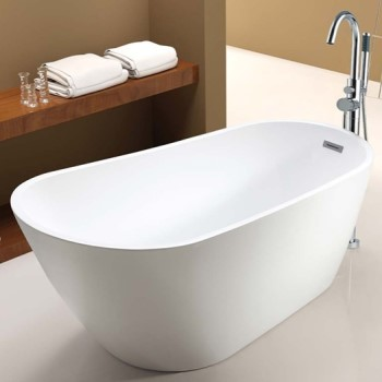Oval Freestanding Tub with Raised Backrest and End Drain