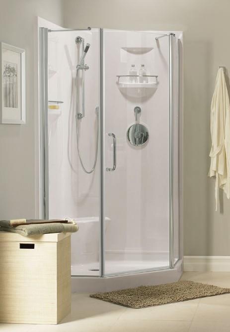 2 shower door options neo corner shower shown with lauzanne door