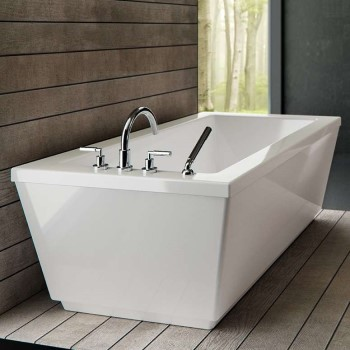 Modern Rectangle Freestanding Bath with Exposed Rim