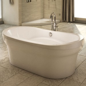 Oval Freestanding Tub with Armrests, Center Drain
