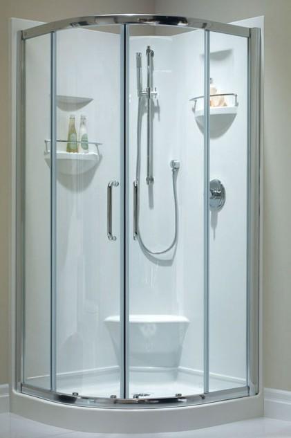 Merveilleux Corner Shower With Round Front, Zurich Door