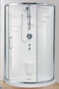 Neo Rouond Shower shown with Baden Door