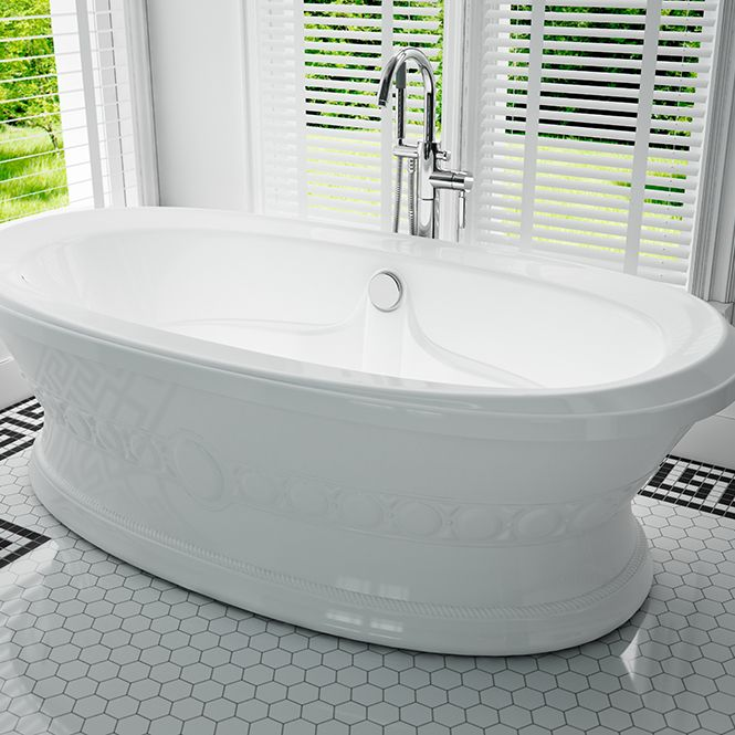 Freestanding Oval Tub with Circle Pattern on Skirt, Armrests