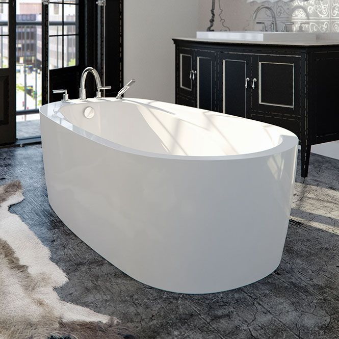 Freestanding Oval Tub, End Drain, Seamless Skirt