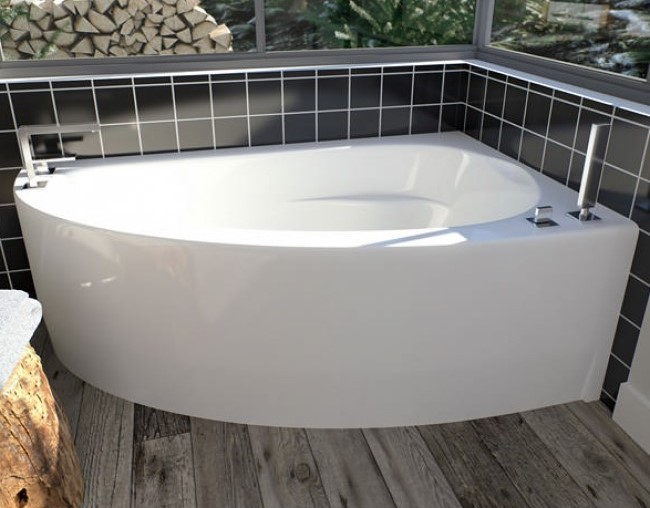 Corner Bath with Curved Front Skirt, Triangle Shape, Left Drain