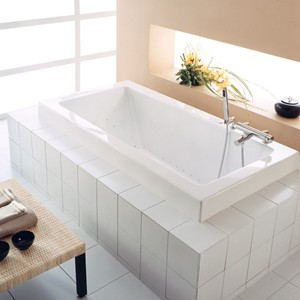 End Drain Tub, Rectangle, Wide Rim