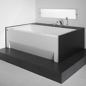 Alcove Tub, Modern, End Drain, Rectangle