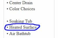Heated Surface Bathtub Listing