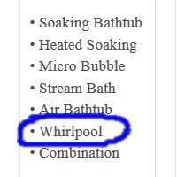 Indicates Whirlpool Tub Option