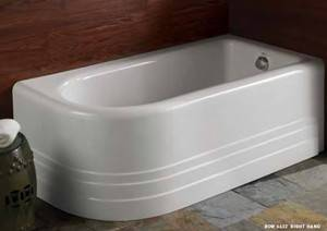 Bow Corner Tub with Rounded Front and Side Skirt