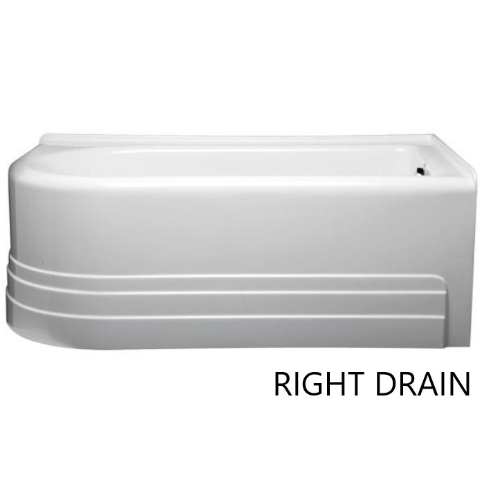 Right Drain Corner Tub with 2 Sided Skirt