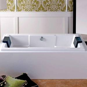 Quantum Rectangle Bathtub with Armrests, shown in White Surround