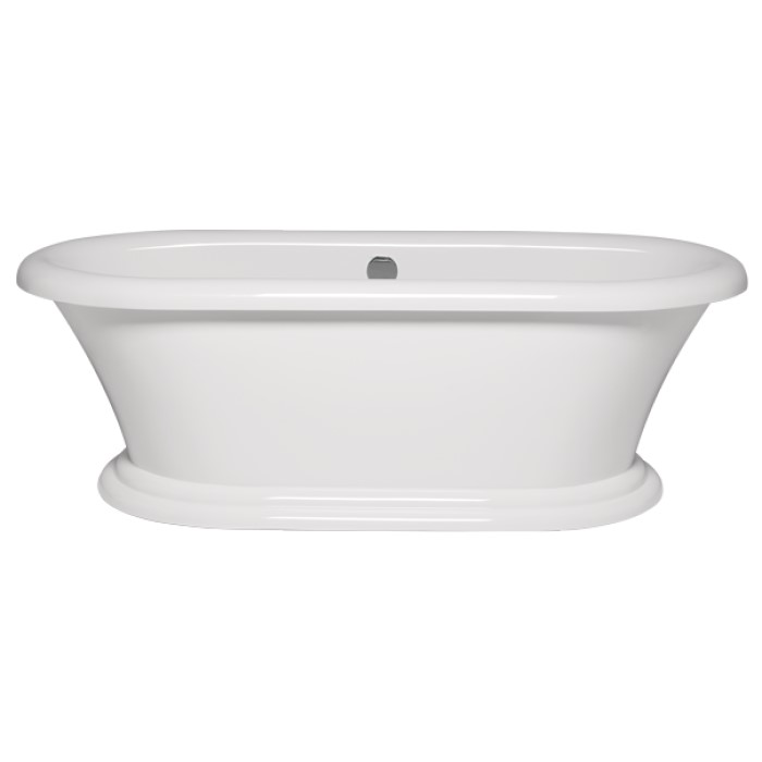 Rianna Freestanding Bath With Pedestal Base And Rolled Rim