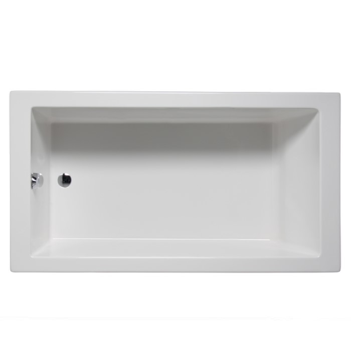 Wright Rectangle Bathtub With Modern Styling, End Drain