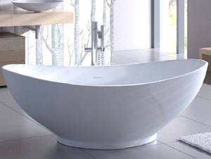 Oval Freestanding Tub with Raised Back Rests, Center Drain