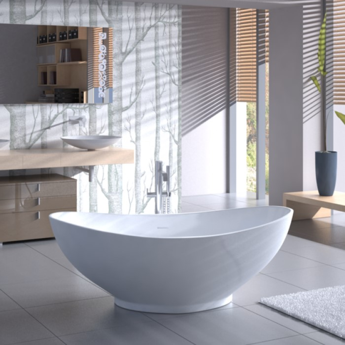 Oval Freestanding Tub with Raised Back Rests  Center Drain Americh ROC Athens Soaking Bathtub