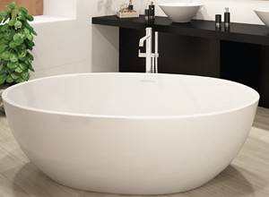 Oval Freestanding Tub with Straight Rim Center Drain
