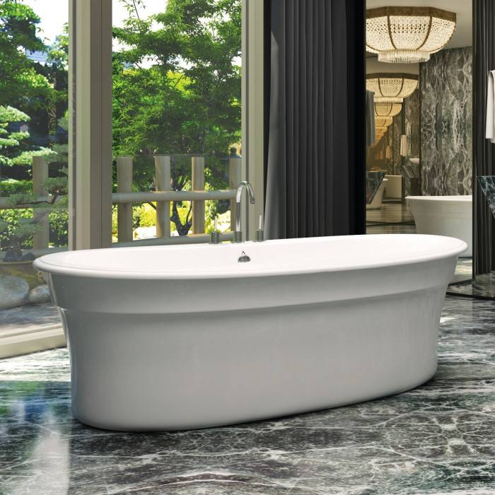 Oval Floor Standing Tub With Rolled Rim U0026 Center Drain