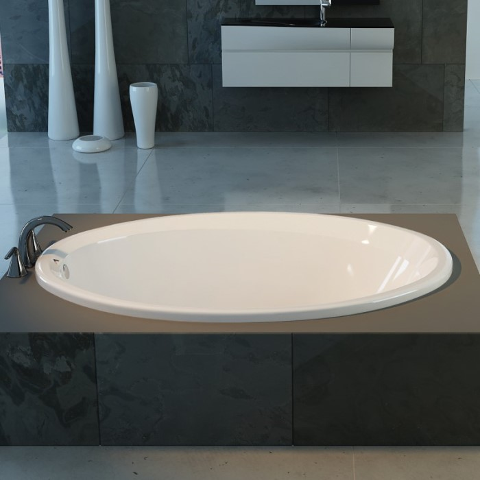 Catalina Drop-in Soaking Bath Installed in a Freestanding Surround