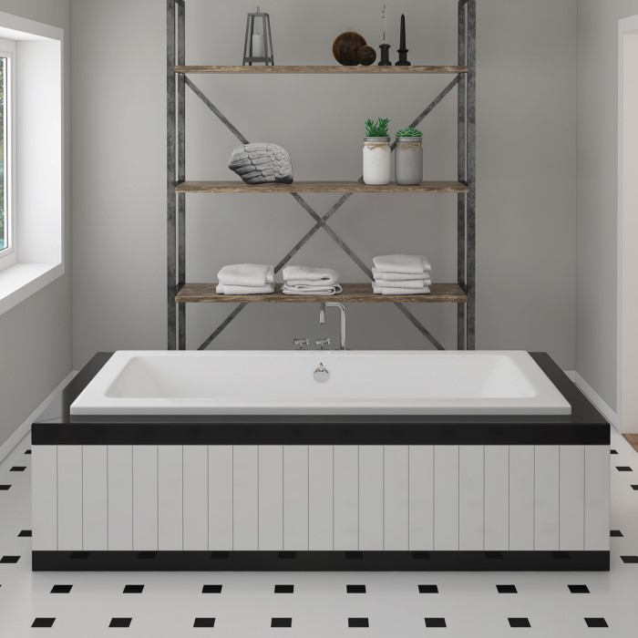 Chios Rectangle Drop-in Soaker Tub Installed in a Freestanding Surround
