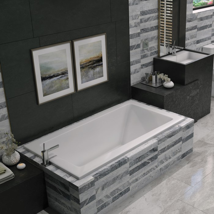 Concord Soaker Tub Installed as a Drop-in in a Tile Surround