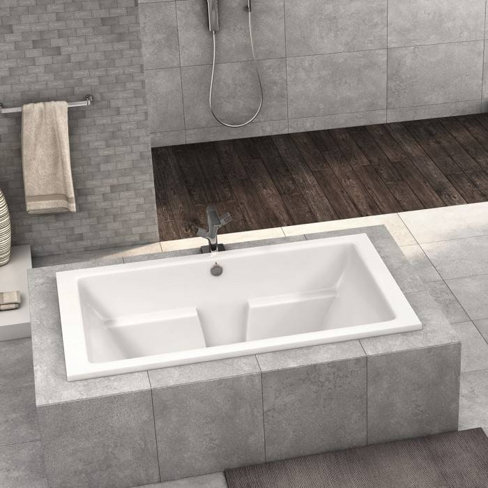 Lana Soaker Tub Installed as a Drop-in in a Freestanding Tile Surround