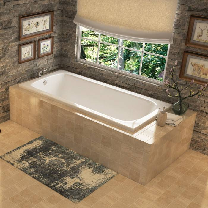 Miro Drop-in Soaker Tub Installed in a Corner Tile Surround