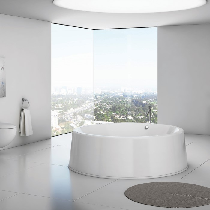 Oceane Round Tub with a Freestanding Tub Filler by Drain