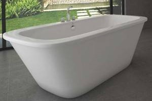 Oval Floor Standing Tub with Flat Rim & Center Drain