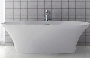 Rectangle Freestanding Tub with Rounded Corners, Curving Sides, Center Drain