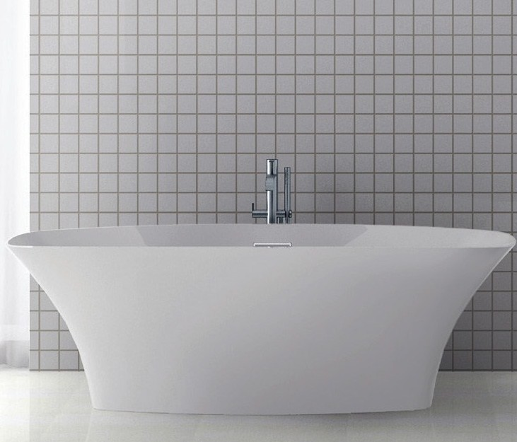 Rectangle Freestanding Tub With Curvinbg Sides, Center Drain