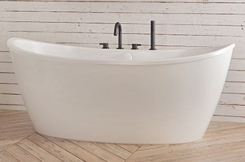 Effie Freestanding Soaking Bath with Deck Fuacets