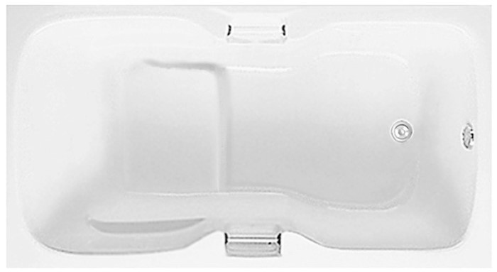 Rectangle Tub with Seat, Armrests, End Drain