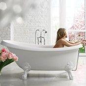 Double Roll Top Freestanding Clawfoot Slipper Bath In White