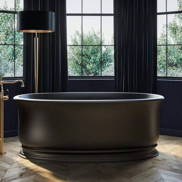Classic Oval Freestanding Tub with a Rolled Rim, Shown in Black