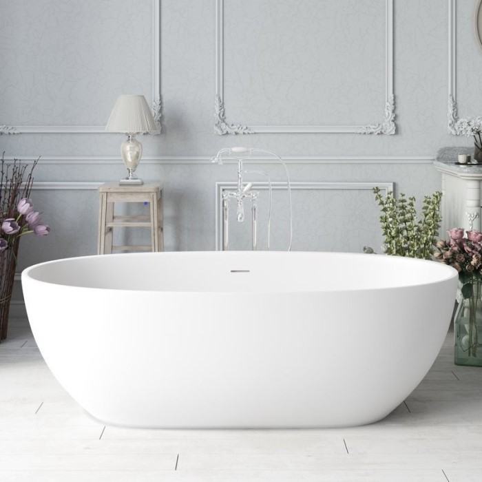White Oval Bath with Curving Sides