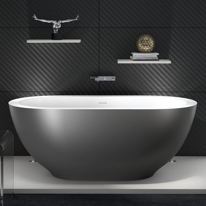 Oval Bath with Smaller Base, Shown with Gunmetal Exterior