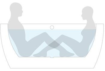Two people sitting face to face in the bath