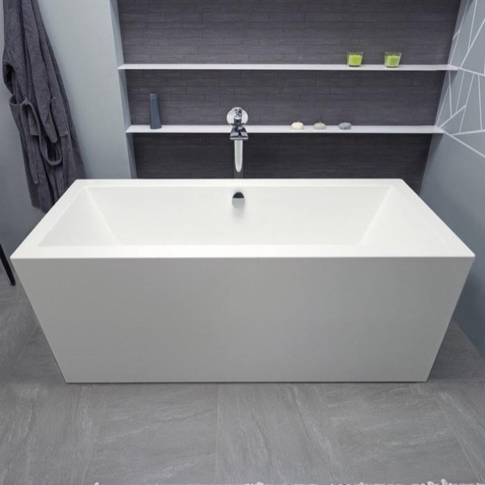 Rectangle Freestanding Tub with a Flat Rim