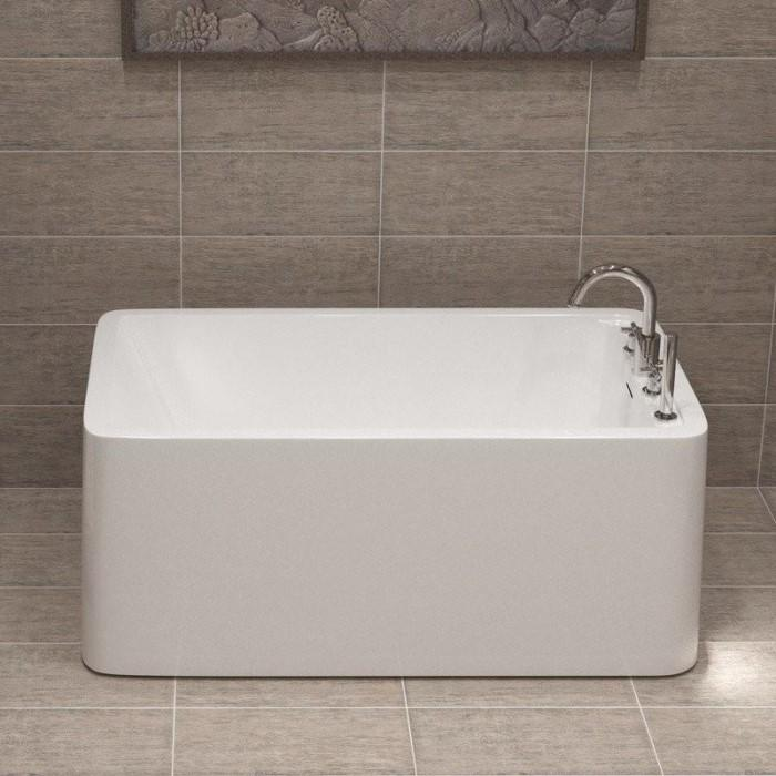 Rectangle Freestanding Tub with a Faucet Deck