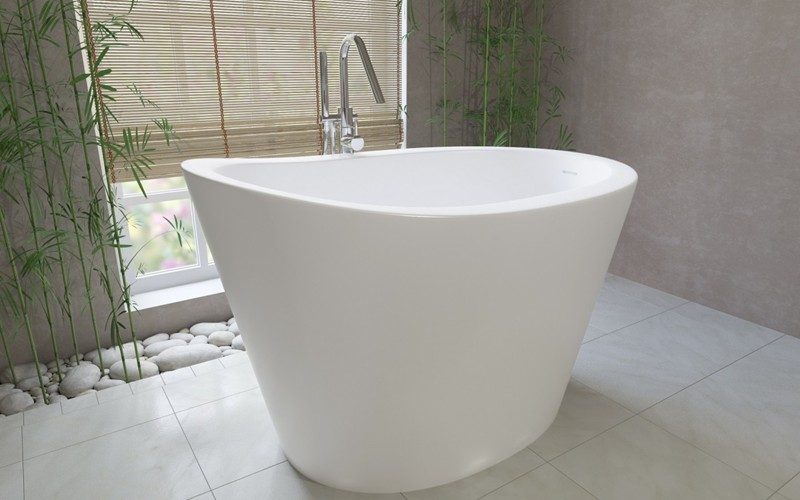 Bon Japanese Style Freestanding Bath With Raised Neck Rest